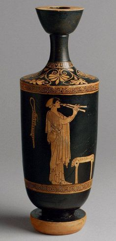 Etruscan Lekythos, ca. 500 BCE; red-figure terracotta.
