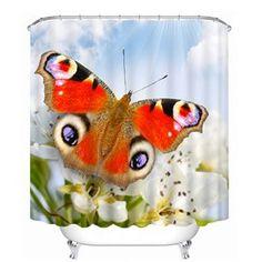 A Lifelike Colorful Butterfly Print 3D Bathroom Shower Curtain