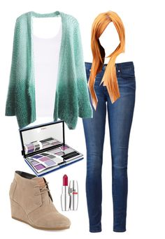 """My Outfit: 9/11/14"" by avamancuso ❤ liked on Polyvore featuring Paige Denim, TOMS and Pupa"