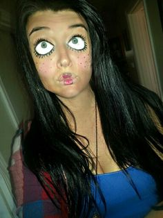 Halloween Makeup DIY doll face. White face paint and black eyeliner