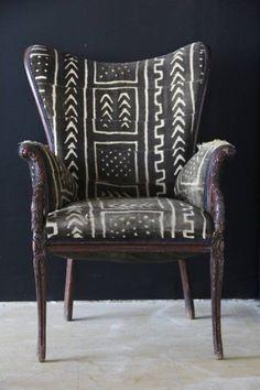 mud cloth upholstered chair via aroundthewaycurls.tumblr.com