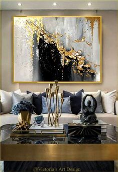 Original oil painting abstract modern on canvas gold leaf large wall art by Victoria Art De . - Original oil painting abstract modern on canvas gold leaf large wall art by Victoria Art Design, -