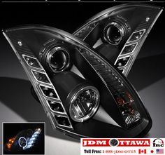 03-06 Infiniti G35 Coupe Black Halo DRL Projector & LED Headlights