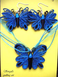 Quilled Butterfly Necklace and Earrings - by: Sergal's quilling art
