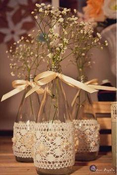 Ideas wedding centerpieces diy wine bottles tea lights for 2019 Wine Bottle Crafts, Jar Crafts, Diy And Crafts, Wine Bottles, Gold Bottles, Diy Wedding, Rustic Wedding, Wedding Flowers, Trendy Wedding