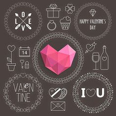 Valentine's Day Thin Line Icons