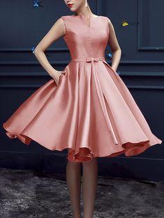 Peach Pink Bowknot Waist Lacing Back Midi Sleeveless Prom Dress