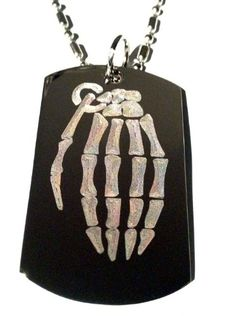 Novelty Skeleton Grenade Logo  Military Dog Tag Luggage Tag Key Chain Metal Chain Necklace *** You can get more details by clicking on the image.
