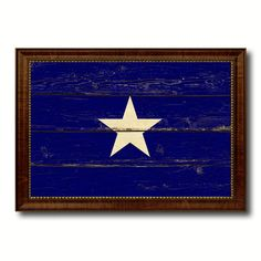Bonnie Blue in Republic of West Florida Military Vintage Flag Brown Picture Frame Gifts Ideas Home Decor Wall Art