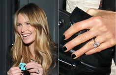 Elle Macpherson | Elle Macpherson is engaged! Billionaire real estate Jeff Soffer proposed to Elle with this emerald cut solitaire diamond ring. #diamond #engagement #celebrity