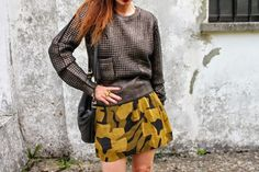 Metallic Knit and camo skirt   #skirt #miniskirt #fashion #knitwear #streetstyle #style #outfit #girl #fashionblog #fashionblogger #madeinitaly #dark #military  #pring #ring #bijoux #black