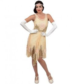 Iconic by UV Exclusive 1920s Style Cream Beaded Chiffon Clara Flapper Dress