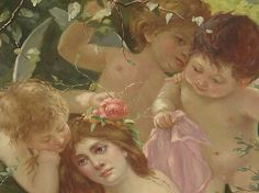 Oil Painting Cherubs Angels Beautiful Nude With Pink Roses OMG  Huge 50x39 From The Colgate Mansion Paul Leka Estate
