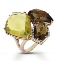Dabakarov 14KRG Smoky Quartz & Peridot Pebble Cluster Ring