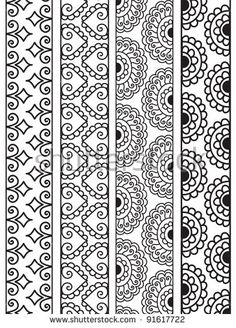 Henna Border, Henna inspired Border - very elaborate and easily editable - stock vector Doodle Borders, Doodle Patterns, Henna Patterns, Zentangle Patterns, Zentangles, Paper Borders, Mandala Doodle, Mandala Drawing, Doodle Art