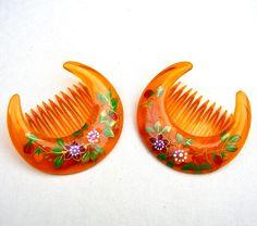 2 vintage crescent hair combs celluloid mid by ElrondsEmporium