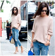 Can't go wrong with a baggy sweater and cropped jeans