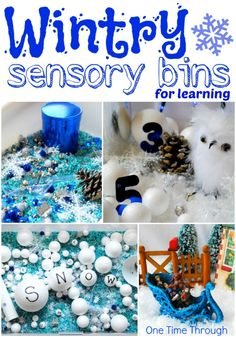 Wintry Sensory Bins for Learning - 4 new ideas that will get your toddler/preschooler learning their numbers, letters, and building thinking skills. {One Time Through} #kids #sensory #winter
