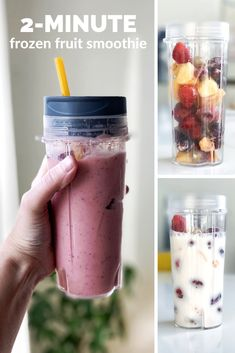 """Easy Frozen Fruit Smoothie - For this particular smoothie I used a frozen """"mixed fruit"""" assortment of sliced peaches seedless red grapes pineapple chunks and strawberries. BUT you can do any frozen fruit you like which is the beauty of this recipe! Frozen Berry Smoothie, Mixed Fruit Smoothie, Grape Smoothie, Strawberry Banana Smoothie, Fruit Smoothie Recipes, Apple Smoothies, Good Smoothies, Fruit Recipes, Frozen Smoothie Recipe"""