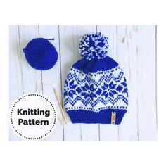 Excited to share this item from my #etsy shop: Knit Hat Pattern // Knitting Pattern // Knit Beanie // Snow Flakes // Winter hat // Winter Knits // Snowflake hat