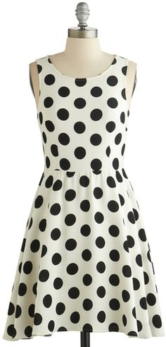 $49, White and Black Polka Dot Skater Dress: Love Point Dot You Forget About Me Dress. Sold by ModCloth. Click for more info: http://lookastic.com/women/shop_items/70990/redirect