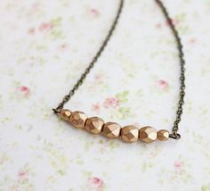 Gold Beads Necklace Minimal Simple  Necklace