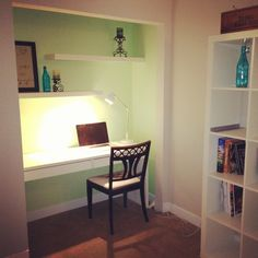 "I turned my closet into an office this weekend! The paint color is Behr ""Celery Bunch."" I used LACK shelving and the MICKE desk from IKEA. And of course that's an EXPEDIT bookshelf unit peaking out there in the corner!"