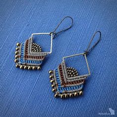 Handcrafted macrame earrings made with linhasita 0,5 mm thread - beige, marron and denim blue colours, glass seed beads, Miyuki beads, brass square. For the perfect set, look at the bracelet we have in our shop: