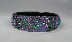 Vintage Molded Lucite Bangle Bracelet Floral by TheFashionDen, $30.00