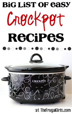 BIG List of Easy Crockpot Recipes! ~ from TheFrugalG ~ Nothing beats the ease of a Crockpot Dinner! You'll LOVE these delicious, easy Crockpot Recipes! Crock Pot Food, Crock Pot Freezer, Crockpot Dishes, Crock Pot Slow Cooker, Slow Cooker Recipes, Cooking Recipes, Crockpot Meals, Bread Recipes, Freezer Meals