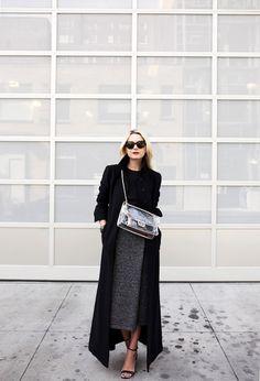 Wear your black maxi coat with a black crew neck jumper and a grey skirt Via Blair Eadie Skirt/Top: Club Monaco, Coat: Co., Shoes: ASOS. Bag: Chanel. Sunglasses: Prada