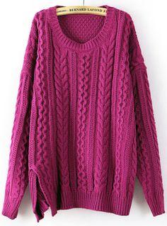 Purple Long Sleeve Split Cable Knit Sweater US$36.07
