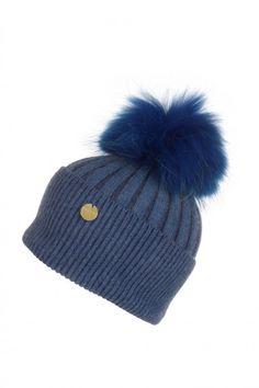 ce64a91bd1e POPSKI LONDON ANGORA POM POM HAT - EVENING BLUE.  popskilondon   · Fur ...