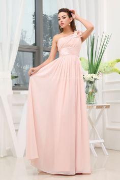 A-line One-shoulder Floor-length Chiffon Bridesmaid Dress One Shoulder Bridesmaid Dresses, Bridesmaid Dresses Online, Cheap Prom Dresses, Ball Dresses, Evening Dresses, Formal Dresses, Prom Gowns, Pink Dresses, Dress Prom