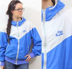 Vintage Retro Blue Nike Windbreaker Track Jacket by TheForgotten