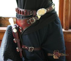 Western drop thigh gunbelt by Doc Stone Studios Western Holsters, Cowboy Action Shooting, Steampunk Costume, Steampunk Diy, Gun Holster, Fantasy Costumes, Cosplay, Leather Projects, Westerns