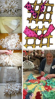 How to tie rag rugs Brilliant and Easy DIY Rug Ideas on a Budget Rag Rug Tutorial, Homemade Rugs, Craft Projects, Sewing Projects, Pom Pom Rug, Latch Hook Rugs, Braided Rugs, Rug Hooking, Diy Crafts To Sell