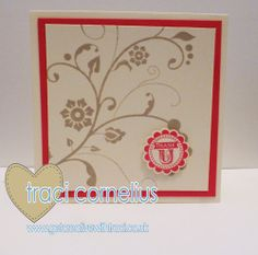 Stampin Up Flowering Flourishes and A Round Array thank you card by Independent Stampin Up Demonstrator Traci Cornelius