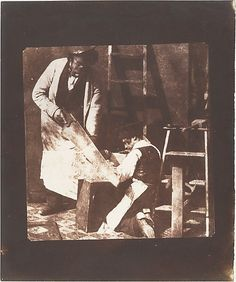 Carpenter and Apprentice, c. Attributed to Fox Talbot. Salted paper print from paper negative. Antique Photos, Old Photos, Vintage Photos, Henry Fox Talbot, Dance Of Death, Green Woodworking, Strange Photos, Talbots, Wood Crafts