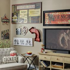Film lovers, we have the movie decor you've been searching for! With a mixture of vintage flair, marquee lights and film themes, our Media Room Collection is perfect for your movie room at home.