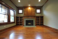 craftsman fireplace surround Family Room Craftsman with Architect bookcase brick Craftsman