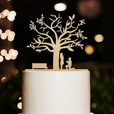 Rustic Proposal Bride and Groom Wood Cake Toppers Cherry Blossom Tree Wedding Cake Topper Wedding Decoration Anniversary Gifts