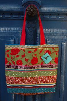 Maxi sac, cabas tote bag Kotyo & Co, bohème, plage, shopping, en jacquard multicolore et lin : Sacs à main par kotyo