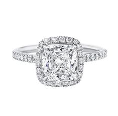 Cushion-Cut Micropavé Diamond Engagement Ring Talk to me Harry Winston tell me all about it!