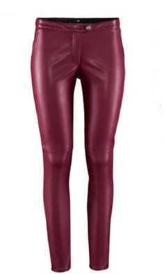 Wine Red Low Waist Skinny Elasic PU Leather Leggings US$33.00