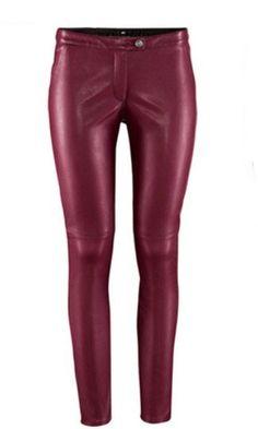 Wine Red Low Waist Skinny Elasic PU Leather Leggings US$33.00