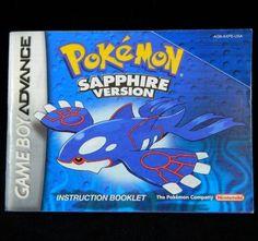 Nintendo Gameboy Advance Pokemon Sapphire Version Manual Instruction Booklet #Nintendo