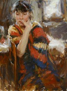 "Resting Model by Dan Beck Oil ~ 16"" x 12"""
