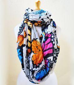 Womens BUTTERFLY infinity scarf  shawl by OriginalDesignsByAR, $13.00