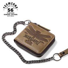 464511f221396 Marka Wysokiej jakości portfel męski Łańcuszek ze skóry naturalnej Casual  Zipper Portfel Posiadacz karty Slim Prawdziwej